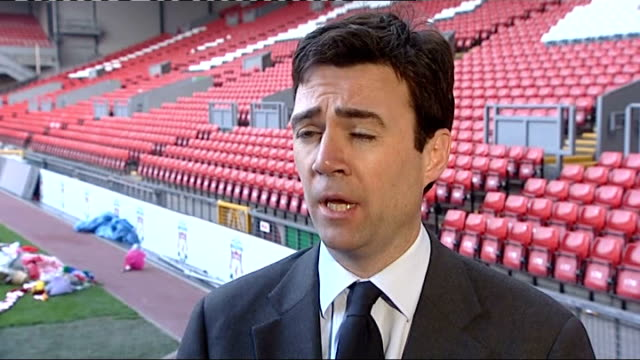 Twentieth anniversary of Hillsborough disaster Andy Burnham interview ENGLAND Liverpool Anfield EXT Andy Burnham MP interview SOT Attended in order...