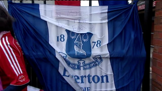 twentieth anniversary of hillsborough disaster closeup of everton flag commemorating hillsborough tragedy everton and liverpool shirts together tied... - anniversary stock videos & royalty-free footage