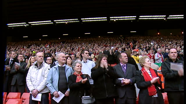 twentieth anniversary of hillsborough disaster memorial service england yorkshire sheffield hillsborough stadium ext crowd applauding as 'justice for... - memorial event stock videos and b-roll footage