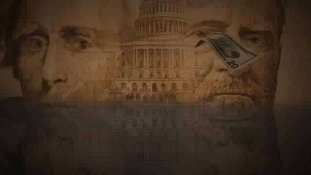 cgi,  twenty dollar banknote falling against composition of dollar banknotes - twenty us dollar note stock videos & royalty-free footage