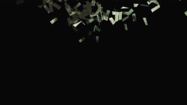 MS, Twenty dollar bills falling against black background