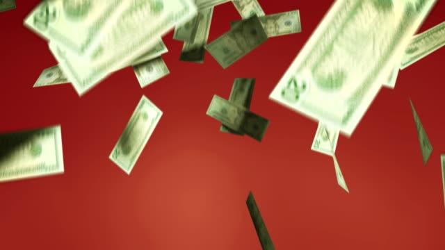 cu, twenty dollar bills falling against red background - twenty us dollar note stock videos & royalty-free footage