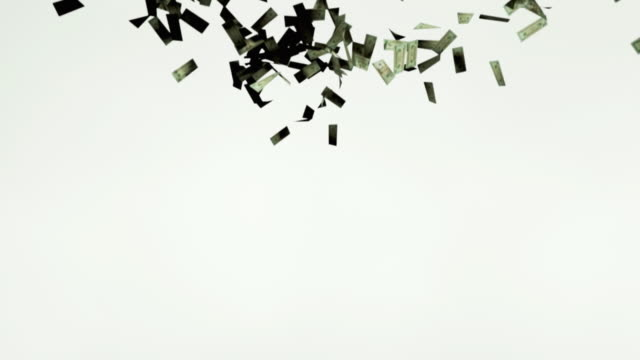 MS, Twenty dollar bills falling against white background