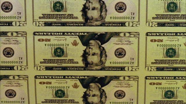 cu, twenty dollar proof sheets being electronically printed, washington dc, usa - twenty us dollar note stock videos & royalty-free footage
