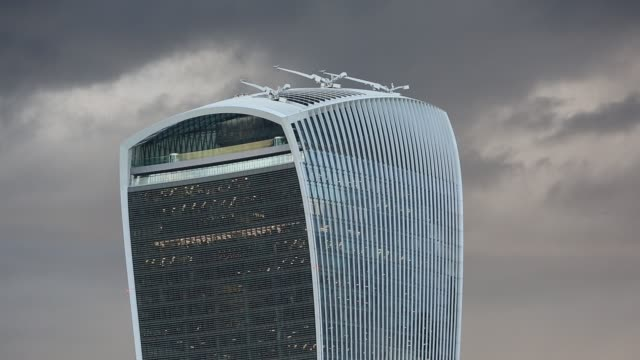 twenty fenchurch street building or the walkie talkie as it is known, in the city of london, uk. - finance and economy stock videos & royalty-free footage
