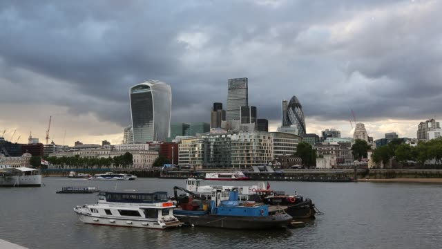 Twenty Fenchurch Street, The Leadenhall building and the Swiss Re Tower in the City of London from the South bank of the River Thames, UK.