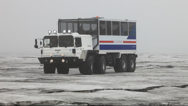 A twenty ton ice explorer truck owned and run by Arngrimur Hermannsson ( Arni). He uses the truck to take tourists onto the Langjokull ice cap. Like all Iceland's glaciers it is melting rapidly and predicted to disappear within 100 years. As Arni says, eve