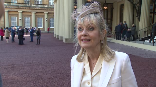 twiggy interview after receiving her damehood england london buckingham palace ext dame lesley lawson interview after receiving her damehood sot - twiggy fashion model stock videos and b-roll footage