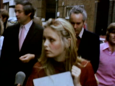 twiggy talks to reporter about animal welfare having handed in petition to department store harrods to protest at trading in animal skins 1975 - twiggy fashion model stock videos and b-roll footage