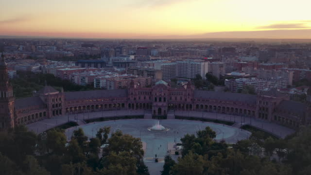 twilight drone video of the plaza de españa in seville, spain - 1928 stock videos & royalty-free footage