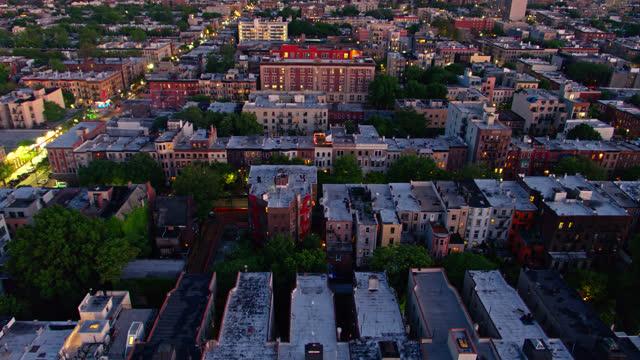 twilight in brooklyn - drone shot - brooklyn new york stock videos & royalty-free footage
