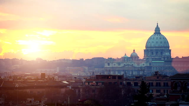 twilight in rome over st. peter's basilica - rome italy stock videos and b-roll footage