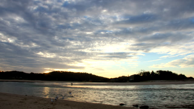 twilight over ocean - inlet stock videos & royalty-free footage