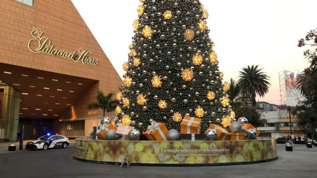 """twilight view of a giant christmas tree at the entrance of the luxury shopping center """"palacio de hierro"""" in """"polanco"""" district which remains closed... - julglitter bildbanksvideor och videomaterial från bakom kulisserna"""
