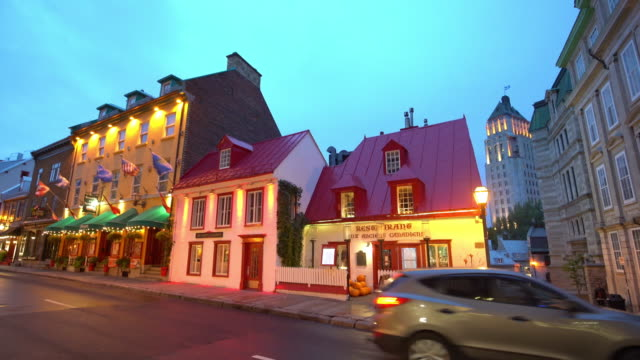 twilight view of street in downtown of old quebec city in quebec - tradition stock videos & royalty-free footage
