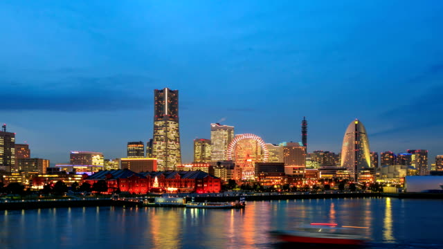 twilight view of yokohama bay in japan - kanagawa prefecture stock videos and b-roll footage
