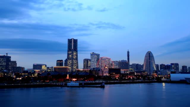 twilight view of yokohama bay in japan - yokohama stock videos and b-roll footage
