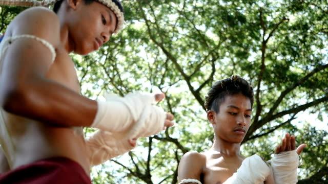 twin boys training muay thai - muay thai stock videos and b-roll footage
