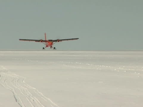 Twin Otter aircraft landing on ice at the Halley Research Station, Antarctica. (NTSC PAL 4x3 Anamorphic; H264 MPEG4 16x9 Square) Audio available on masters.