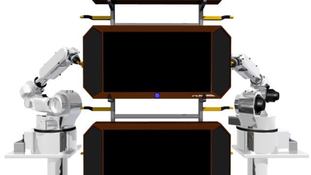 twin robot tv conveyor belt - liquid crystal display stock videos & royalty-free footage