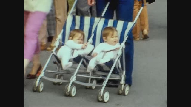 twins on the stroller in 70's - cute stock videos & royalty-free footage