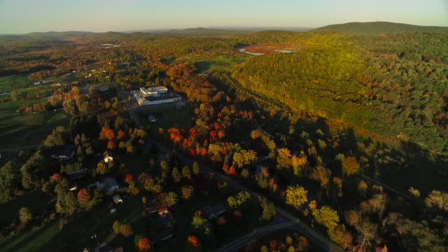 Twisting aerial view of beautiful fall foliage