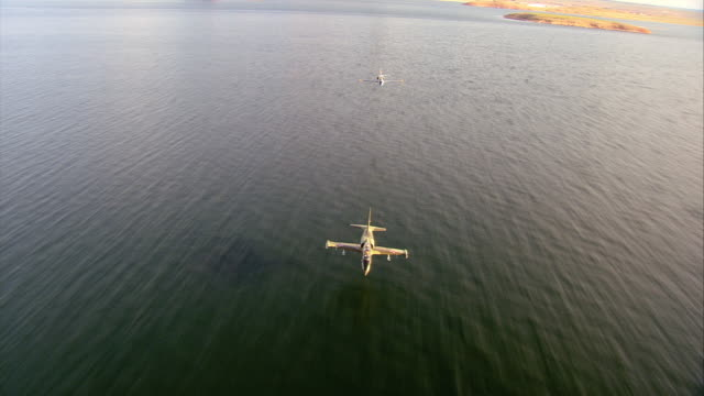AIR TO AIR, Two Aero L-39 Albatroses flying over lake and Grand Canyon, Arizona, USA