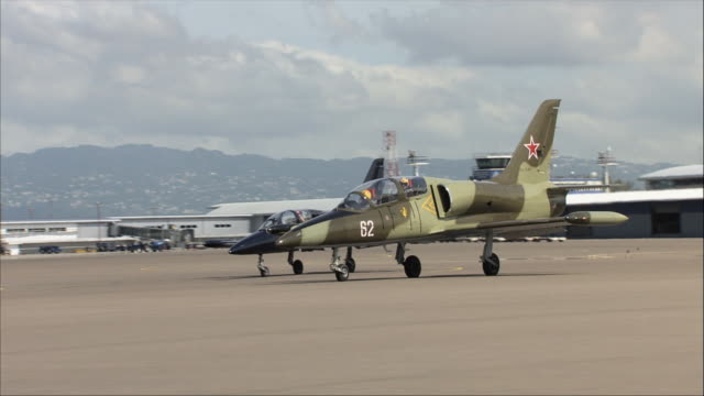 ms, ds, two aero l-39 albatroses on tarmac - united states airforce stock videos and b-roll footage