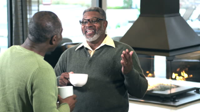 two african-american men talking over coffee - country club stock videos & royalty-free footage