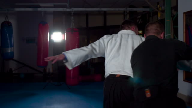 two aikido masters training - samurai stock videos & royalty-free footage