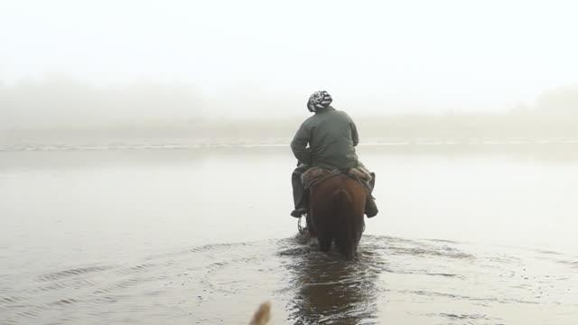 vídeos de stock, filmes e b-roll de dois gaúchos argentinos montando cavalos de manhã com névoa e transportar espingardas - image