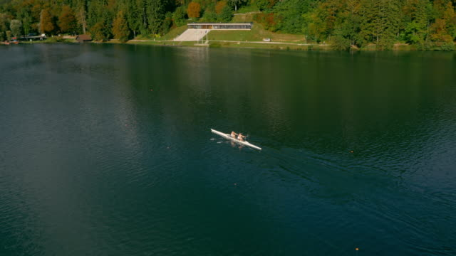 aerial two athletes rowing in their double scull across the lake - canottaggio senza timoniere video stock e b–roll
