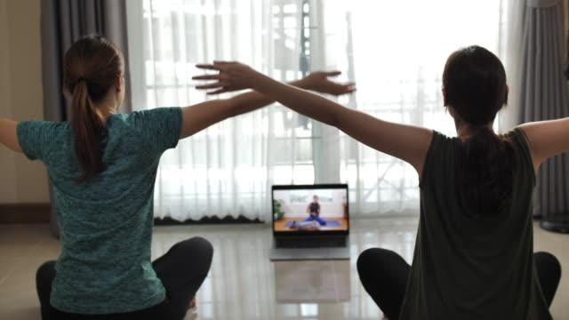 due donne attraenti che fanno allenamento a casa eseguendo l'esercizio aerobico a casa - pilates video stock e b–roll