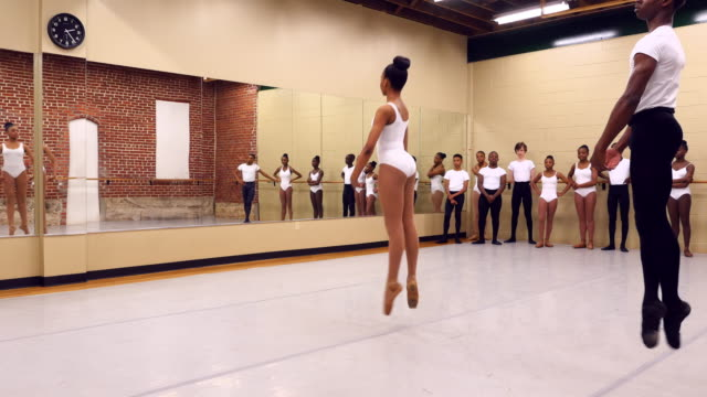 ms two ballet students in rehearsal while classmates watch - rehearsal stock videos & royalty-free footage
