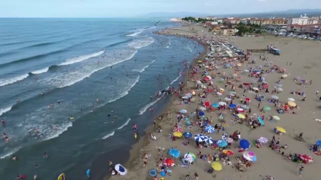 two beaches in karasu district of northwestern turkish province of sakarya have been awarded the blue flag tag an international label denoting high... - eco tourism video stock e b–roll