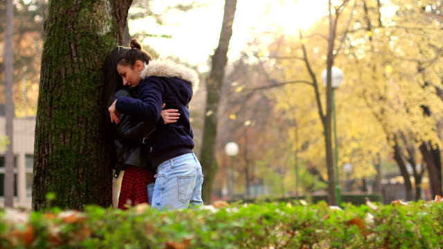 Two beautiful lesbians are hugging in the park next to the autumn tree