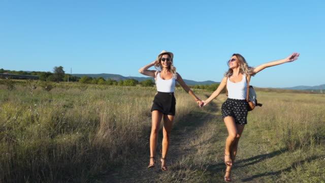 二人の美しい姉妹が陽気にフィールドに飛び上がる - そっくりさん点の映像素材/bロール