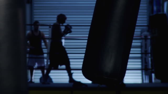 WS Two boxers sparring in ring / Jacksonville, Florida, USA