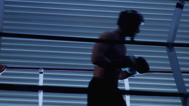 MS Two boxers sparring in ring / Jacksonville, Florida, USA