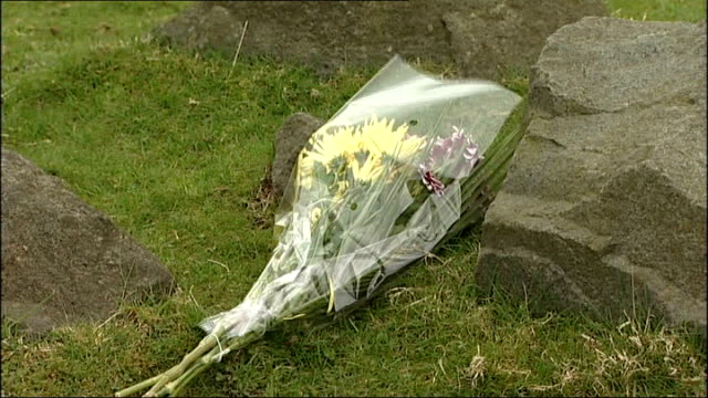 two boys found dead in car near lennoxtown scotland nth glasgow nr lennoxtown campsie fells ext bunch of flowers near spot where two young boys paul... - paul ross stock videos & royalty-free footage