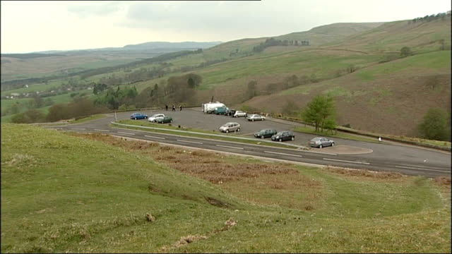 two boys found dead in car near lennoxtown scotland nth glasgow nr lennoxtown campsie fells ext high angle shots of car park where bodies of two boys... - paul ross stock videos & royalty-free footage