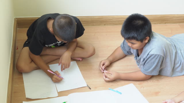 two boys homeschooling due to covid-19 - secondary school child stock videos & royalty-free footage