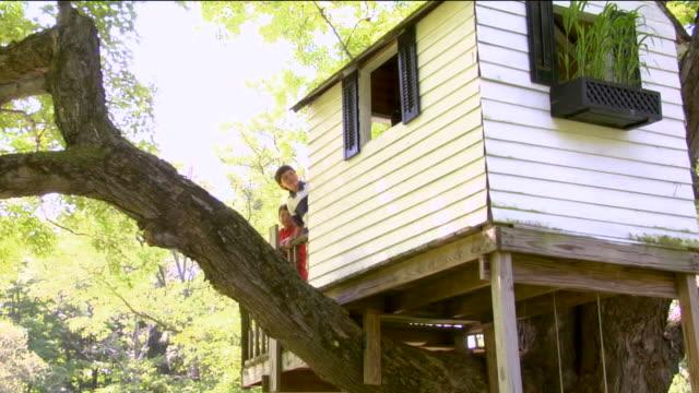 vídeos de stock, filmes e b-roll de la ws two boys knocking on treehouse while three girls look out window / sherman, ct, usa - treehouse