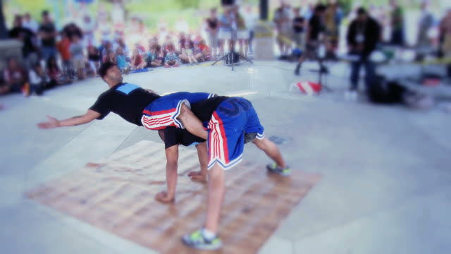 ws zo two boys performing breakdancing on breakdanced pad  / mississauga, ontario, canada. - kelly mason videos stock videos & royalty-free footage