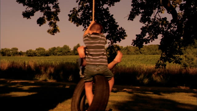 two boys play on a tire swing. - sibling stock videos & royalty-free footage