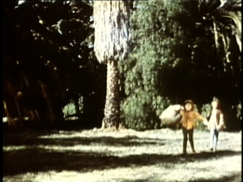 1948 reenactment montage two boys skipping across field together / audio - christopher columbus explorer stock videos & royalty-free footage
