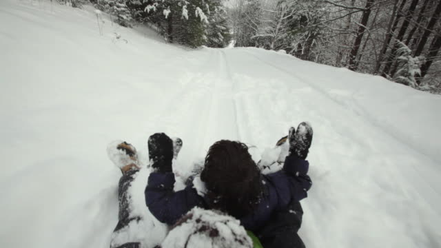 pov ms ha two boys (4-9) sledding down hill in forest / franconia, new hampshire, usa - sledge stock videos & royalty-free footage