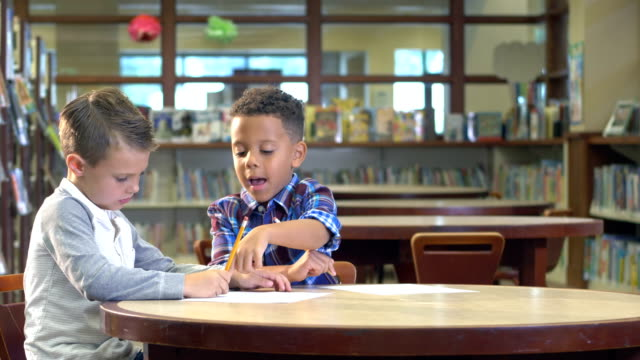 two boys studying in the library - bookshelf stock videos & royalty-free footage
