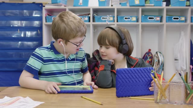Two Boys Working on Tablets in Elementary School