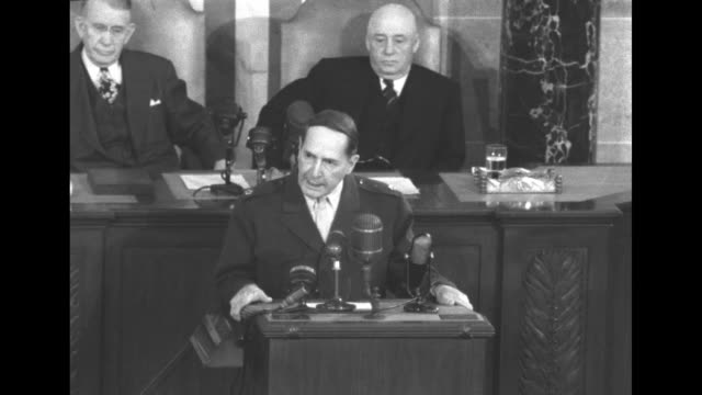 two brief snippets of douglas macarthur's speech to a joint session of the us congress upon his return to the us following his termination from... - sam rayburn video stock e b–roll